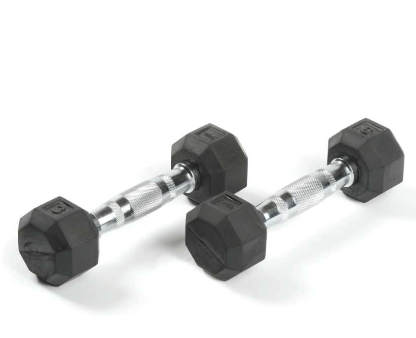 DELUXE RUBBER DUMBBELLS - 3-25 LB. PAIRS