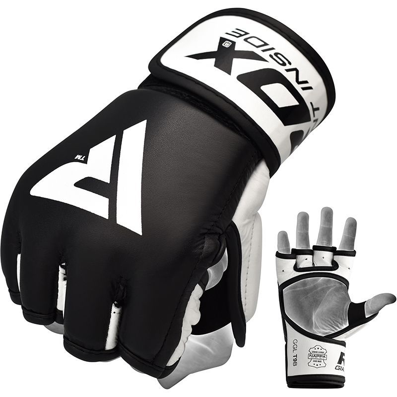 RDX T9 MMA Grappling Training Leather Gloves Open Palm Gel Padded