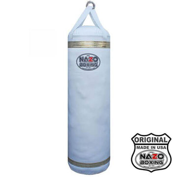 WHITE AND GOLD 4 FT BOXING HEAVY PUNCHING BAG
