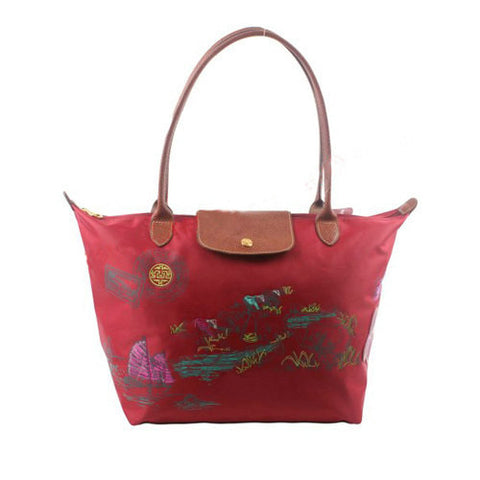 Longchamp Autour De Ha Long Tote Bags Red