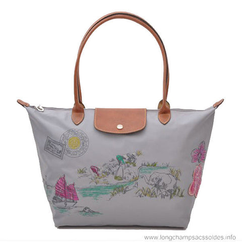Longchamp Autour De Ha Long Tote Bags Grey