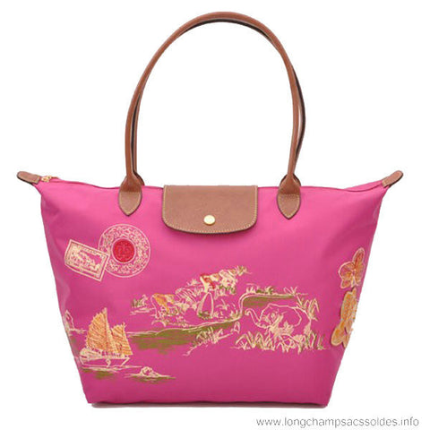 Longchamp Autour De Ha Long Tote Bags Rose