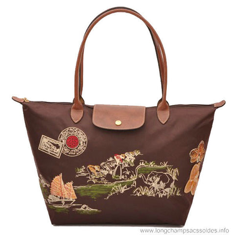 Longchamp Autour De Ha Long Tote Bags Chocolate