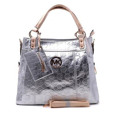 Michael Kors Classic Monogram Removable Strap Large Silver Tote