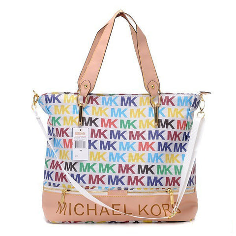Michael Kors Classic Monogram Removable Strap Large White Multicolor Tote