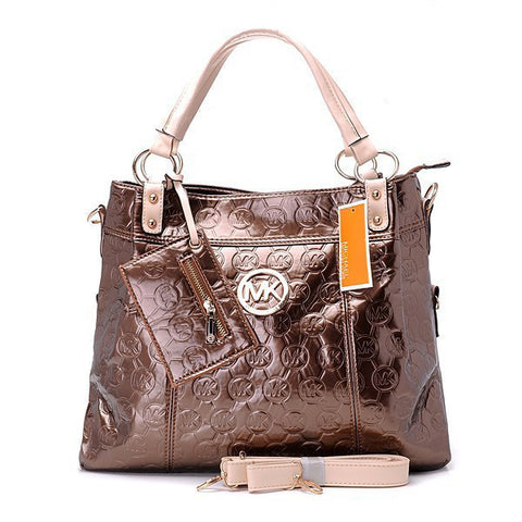 Michael Kors Classic Monogram Removable Strap Large Bronze Tote