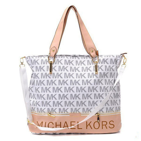 Michael Kors Classic Monogram Removable Strap Large White Tote