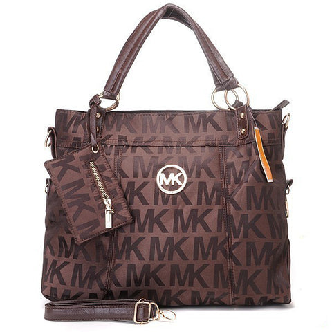Michael Kors Classic Monogram Removable Strap Large Coffee Tote