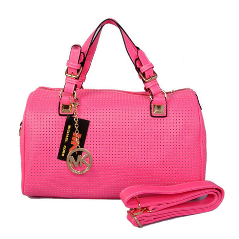 Michael Kors Grayson Perforated Saffiano Large Rose Satchel