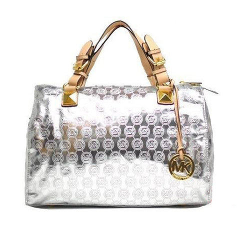 Michael Kors Grayson Monogram Large Silver Satchel