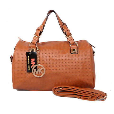Michael Kors Grayson Perforated Saffiano Large Brown Satchel
