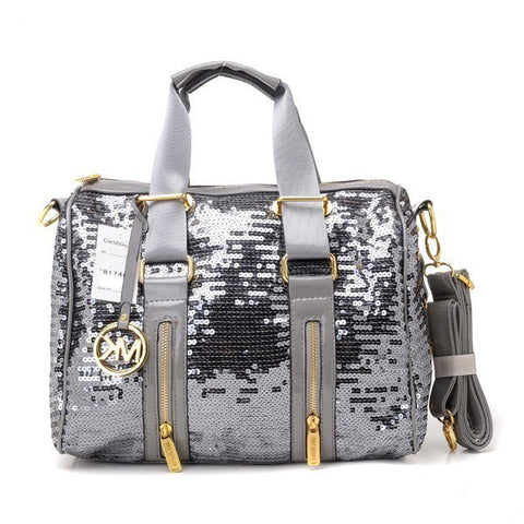 Michael Kors Sequins Large Silver Satchel