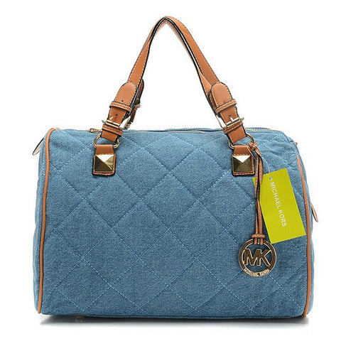 Michael Kors Quilted Large Blue Satchel