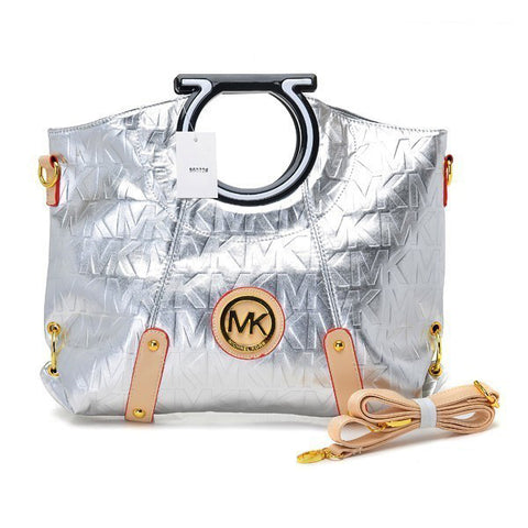 Michael Kors Berkley Logo Large Silver Clutch
