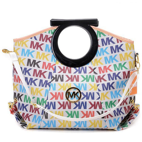 Michael Kors Berkley Logo Large White Multicolor Clutch