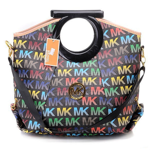 Michael Kors Berkley Logo Large Black Multicolor Clutch