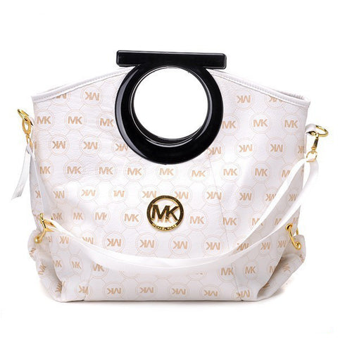 Michael Kors Logo-Print Large White Clutch