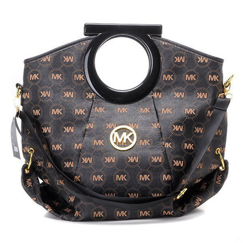 Michael Kors Logo-Print Large Black Clutch