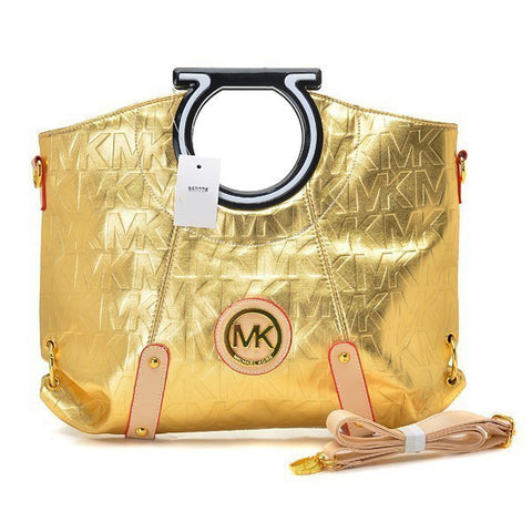 Michael Kors Berkley Logo Large Gold Clutch