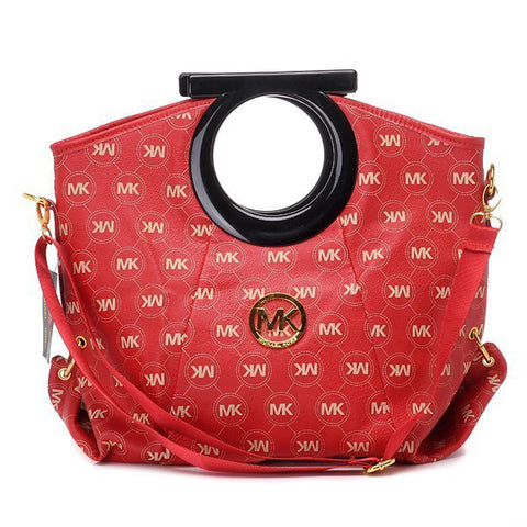 Michael Kors Logo-Print Large Red Clutch