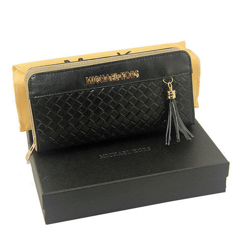 Michael Kors Embossed Leather Large Black Wallet