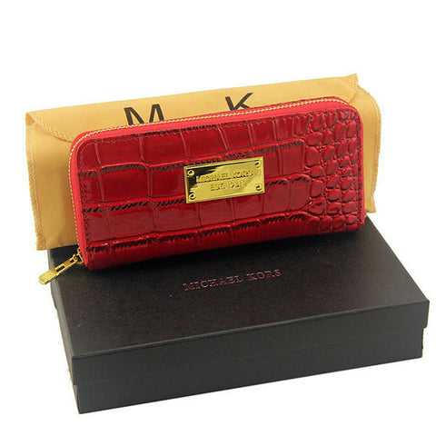 Michael Kors Embossed Logo Large Red Wallet