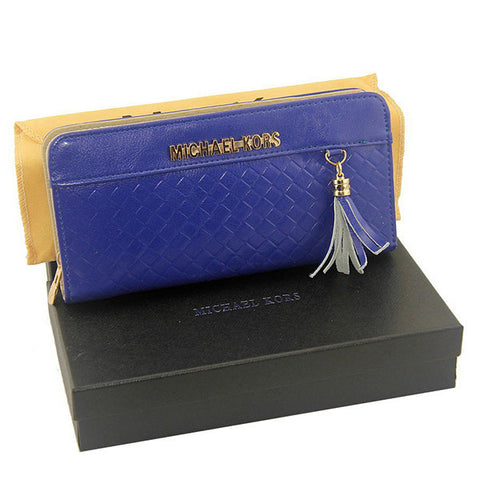 Michael Kors Embossed Leather Large Blue Wallet