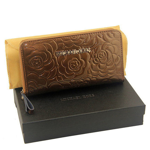 Michael Kors Embossed Logo Large Brown Wallet
