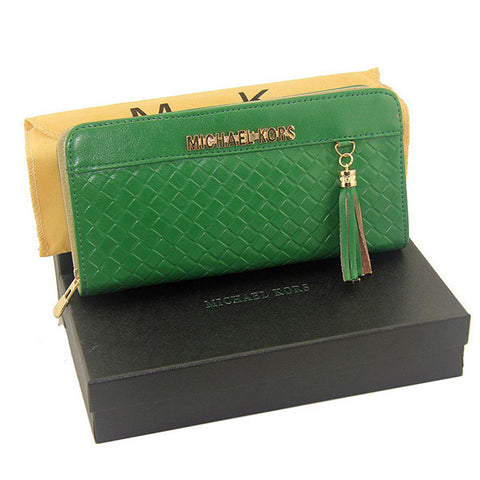 Michael Kors Embossed Leather Large Green Wallet