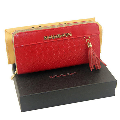 Michael Kors Embossed Leather Large Red Wallet