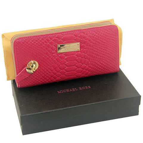 Michael Kors Embossed Logo Large Rose Wallet