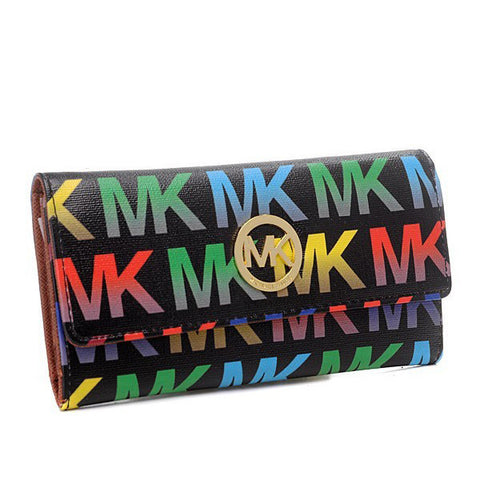 Michael Kors Envelope Logo Large Black Multicolor Wallet
