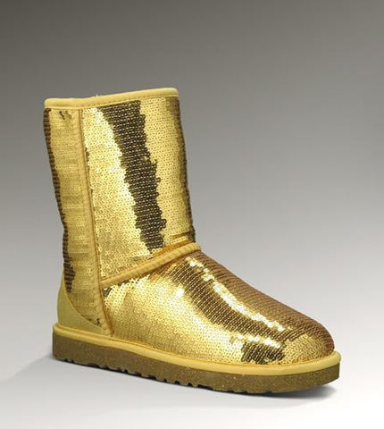 UGG 3161 Classic Short Sparkles Boots Gold