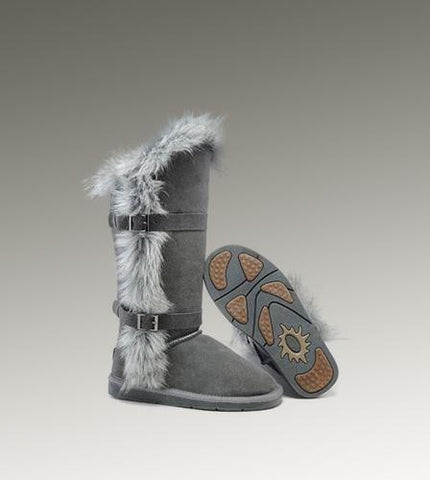 UGG Fox Fur Tall 1984 Grey Boots