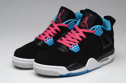 Nike Air Jordan 4 IV Retro Mens Shoes Black / Vivid Pink / Blue White