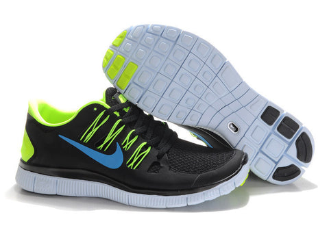 Nike Free 5.0 Black Lime Blue Mens Running Shoes