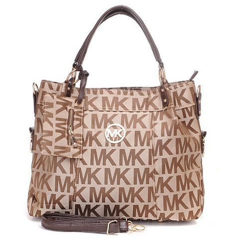 Michael Kors Classic Monogram Removable Strap Large Beige Tote