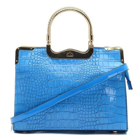 Michael Kors Embossed Large Blue Tote