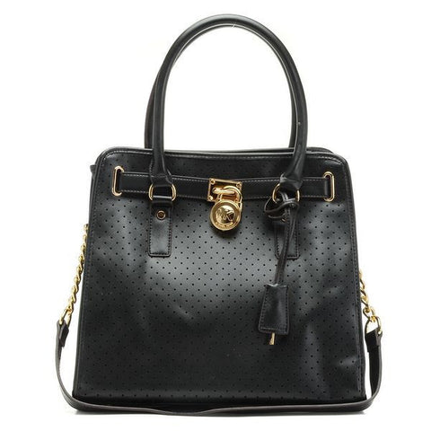 Michael Kors Hamilton Perforated Large Black Tote