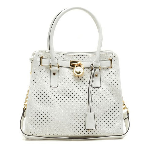 Michael Kors Hamilton Perforated Large White Tote