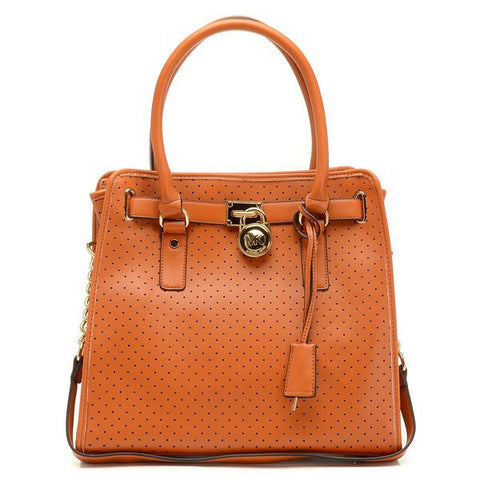 Michael Kors Hamilton Perforated Large Brown Tote
