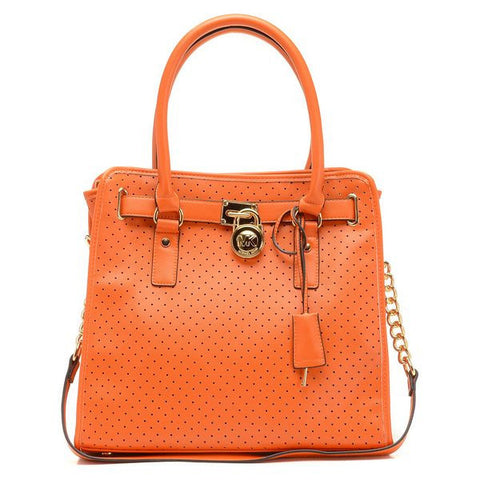Michael Kors Hamilton Perforated Large Orange Tote