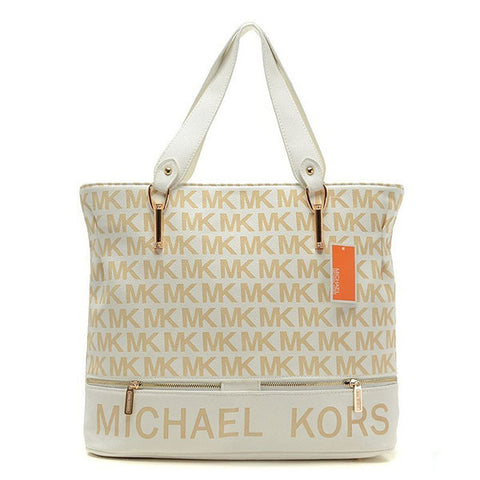 Michael Kors Classic Monogram Removable Strap Large Vanilla Tote