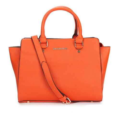 MICHAEL Michael Kors Selma Top-Zip Large Orange Tote