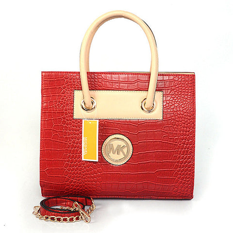 Michael Kors Embossed Medium Red Tote