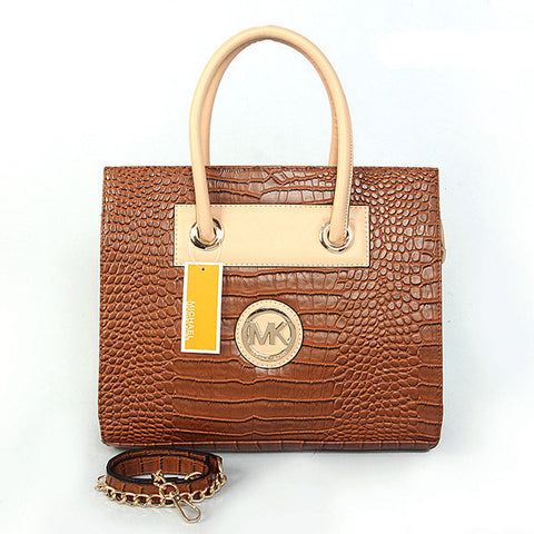 Michael Kors Embossed Medium Brown Tote
