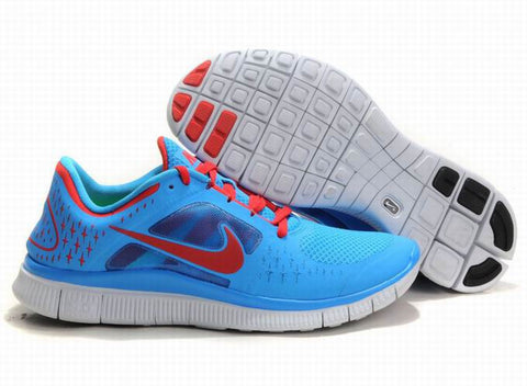 Nike Free Run +3 Blue Red Mens Running Shoes