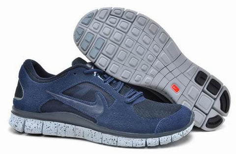 Men Nike Free Run+3 5.0 EXT in Navy Blue White Suede Shoes