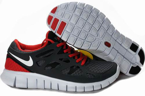 2013 Nike Free Run +2 Black Red Mens Shoes