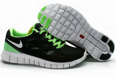 2013 Nike Free Run +2 Black Green Mens Shoes